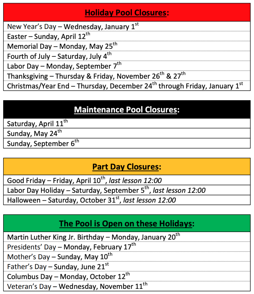 2019 Aqua Sports Swim Academy Calendar Dates